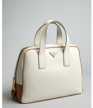 Prada cream and tan leather bowler bag
