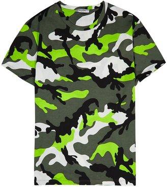 Valentino Green Camouflage-print Cotton T-shirt
