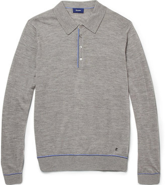 Façonnable Long-Sleeved Knitted Wool Polo Shirt