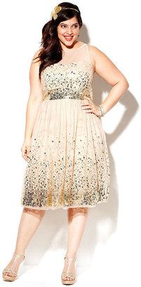 Ruby Rox Plus Size Dress, Sleeveless Sequin Illusion