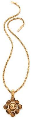 WGACA Vintage Chanel Tiger Eye Pendant Necklace