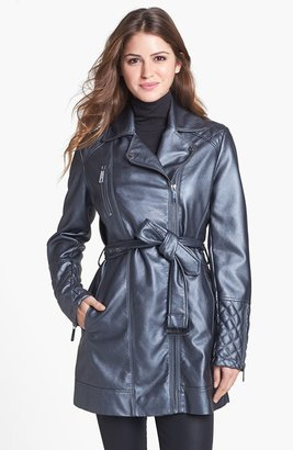 Kenneth Cole New York Asymmetrical Belted Faux Leather Coat
