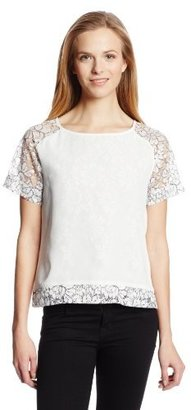 Helena Greylin Women's Lace Blocked Short Sleeve Top