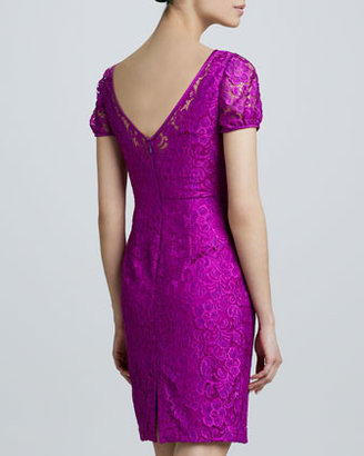 Theia Boat-Neck Lace Cocktail Dress