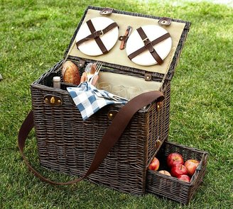 Pottery Barn Rattan Picnic Trunk for 4