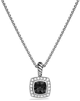 David Yurman Petite Albion Pendant with Black Onyx and Diamonds on Chain, 17