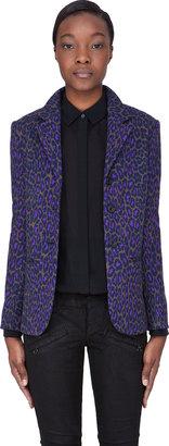Christopher Kane Purple Wool Leopard Blazer