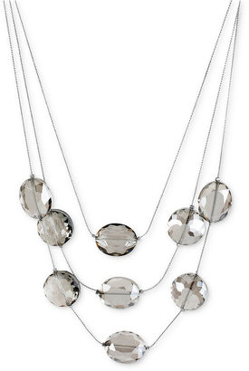 Kenneth Cole New York Necklace, Silver-Tone Faceted Bead Illusion Necklace