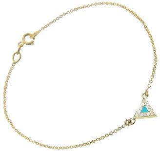 Jennifer Meyer Diamond Turquoise Inlay Triangle Bracelet - Yellow Gold