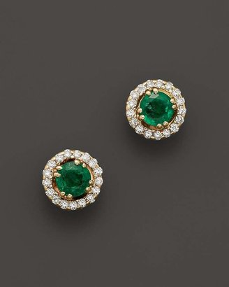 Bloomingdale's Emerald and Diamond Stud Earrings in 14K Yellow Gold - 100% Exclusive