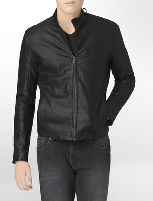 Calvin Klein Body Slim Fit Textured Faux Leather Jacket
