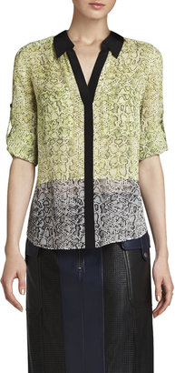 BCBGMAXAZRIA Sadie Silk Print-Blocked Shirt