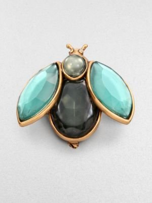 Oscar de la Renta Jeweled Beetle Brooch