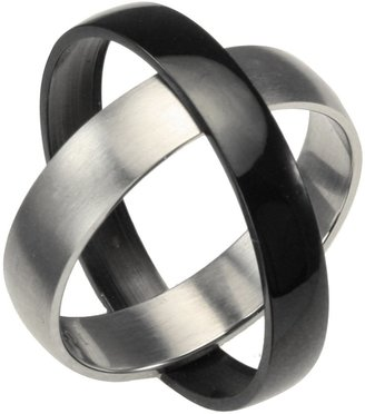 Dahlia Black & Silver-Tone Stainless Steel Twistable Spinning 5mm Band Ring (Size 10)