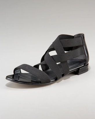 Stuart Weitzman Elastic Strappy Flat Sandal
