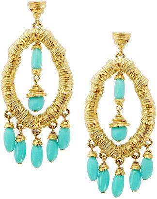 T Tahari Earrings, Gold-Tone Turquoise Resin Chandelier Earrings