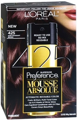L'Oreal Superior Preference Mousse Absolue Automatic Reusable Color 425 Dark Mahogany Brown