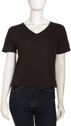 Velvet by Graham & Spencer V-Neck Pocket Tee, Black