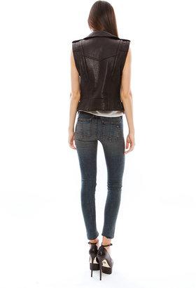 Rebecca Minkoff Wolf Jacket with Zip Off Sleeve in Black/Black