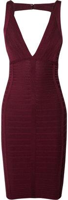 Herve Leger Cutout-back bandage dress