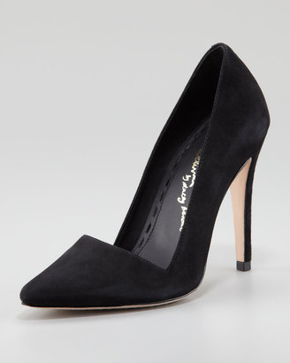 Alice + Olivia Dina Suede Pointed-Toe Pump