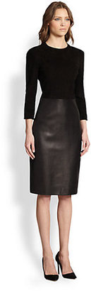 The Row Stretch Jersey & Leather Dress