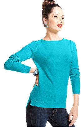 Charter Club Sweater, Long-Sleeve High-Low-Hem Cashmere