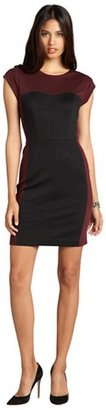 Rebecca Taylor bordeaux and black colorblocked ponte sweetheart cap sleeve dress