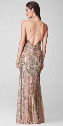 Mignon Sequin Halter Crisscross Low Back Evening Dresses
