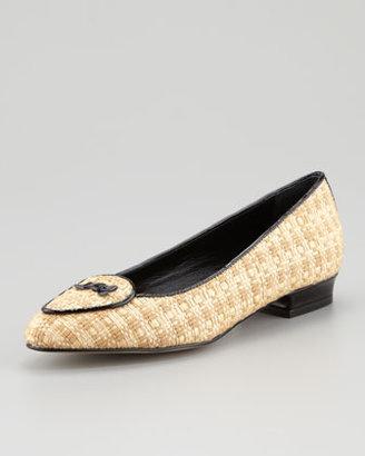 Jacques Levine Laura Woven Raffia Belgian Loafer, Black/Natural