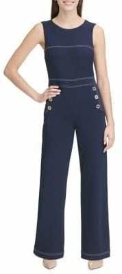 Tommy Hilfiger Sleeveless Crepe Top Stitch Jumpsuit
