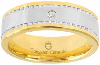 MODERN BRIDE Ceramic & Tungsten Ring with Diamond Accent