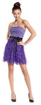 Teeze Me Teez Me Juniors' Purple Animal-Print Party Dress