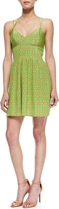 Amanda Uprichard Whenever Octagon-Print Sundress, Green/Pink
