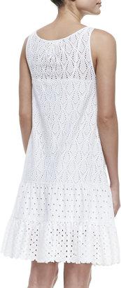 Catherine Malandrino Mixed-Lace Drop-Waist Sleeveless Dress
