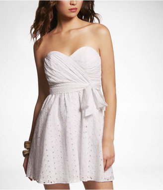 Express Strapless Eyelet Dress