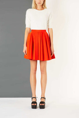 Topshop Tomato Wool Flippy Skirt By Boutique