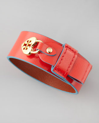 Tory Burch Alden Leather Heart-Lock Cuff Bracelet, Red/Turquoise