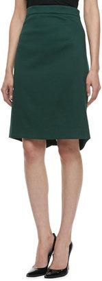 Zac Posen Textured Pencil Skirt, Dark Green