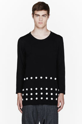 Comme des Garcons Black long embroidered dot sweater