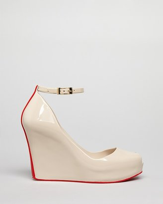 Melissa Jelly Peep Toe Platform Wedge Pumps Patchuli V
