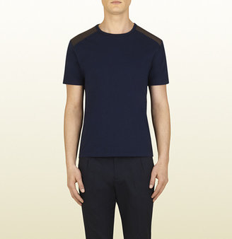 Gucci Dark Blue Cotton T-Shirt With Leather Details
