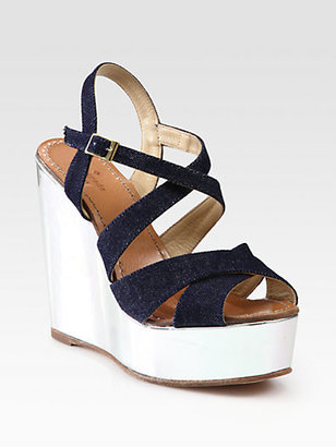 Kate Spade Lux Denim & Metallic Leather Wedge Sandals