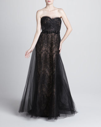 Marchesa Bead-Waist Lace Ball Gown