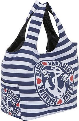 Ashley M Sailor Skull Striped Tote Bag