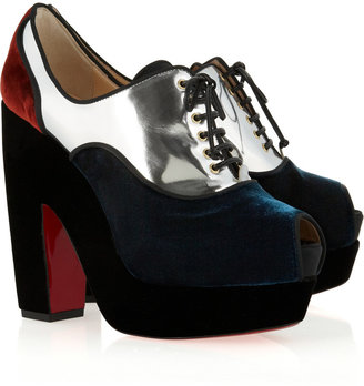 Christian Louboutin Enclume 140 metallic leather and velvet ankle boots
