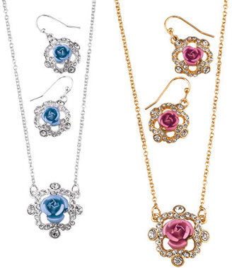 Avon Sparkling Roses Necklace and Earring Gift Set
