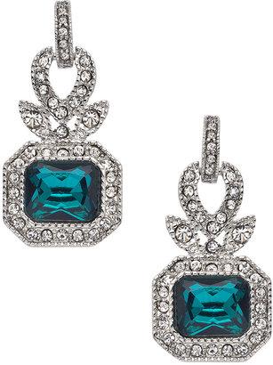 Carolee Regal Reflection Teal Rectangular Drop Earrings