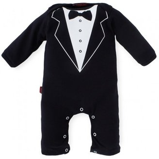 Oh Baby London Tuxedo Print Babygrow