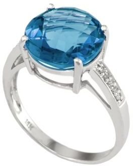 EFFY 14Kt. White Gold & Blue Topaz Ring with Diamond Accents